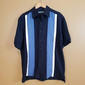 Cubavera Med blue and white casual button down
